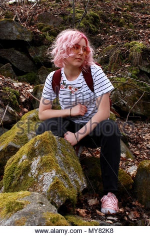 Girl in Swedish forest. - Stock Photo