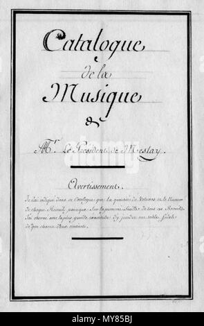 . Français : Page de titre du catalogue de la musique de J. P. Masson de Meslay (c) BM Chartres. 24 August 2015. Manuscrit anonyme. 353 Masson Catalogue - Stock Photo