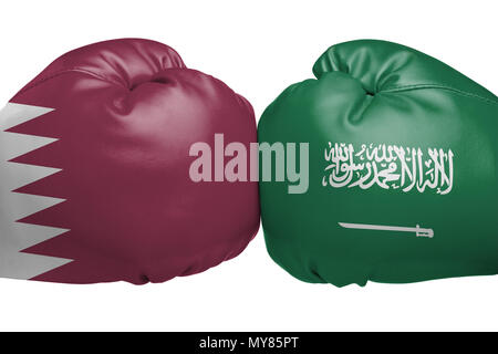 Close up of boxing gloves with Qatari and Saudi Arabian flag symbols isolated on white background - Stock Photo