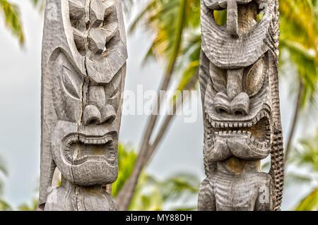 Polynesian God in Puuhonua O Honaunau National Historical Park - Stock Photo