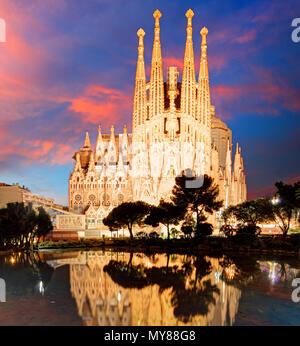 BARCELONA, SPAIN - FEB 10: View of the Sagrada Familia, a large Roman Catholic church in Barcelona, Spain, designed by Catalan architect Antoni Gaudi, - Stock Photo