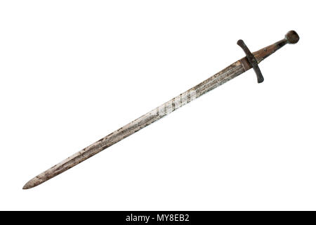 Medieval sword isolated on white background. Clipping path. - Stock Photo