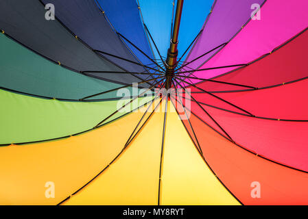 Multicolored umbrella. Colors of rainbow. - Stock Photo