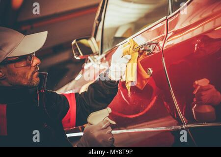 Retro Car Body Cleaning and Paint Restoration. Taking Care of Classic Car.