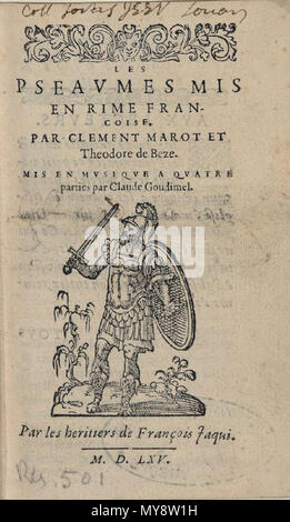 . Français: Title page of Goudimel homophonic psalms (Genève: Jaquy, 1565). 1565. Claude Goudimel. 217 Goudimel - Psaumes 4v 1565 Jaquy - Stock Photo