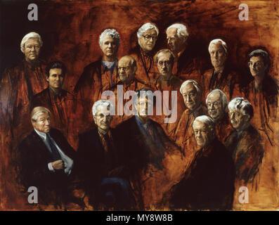 .  English: The Gentleman's Club Nederlands: De Herenclub .  English: Depicted: (back row): Jan Posch, Adriaan van Dis, W.L. Brugsma, André Spoor, G.L. van Lennep, Jeroen Henneman; middle: Julius Roos, Coen Stork, Gerrit Komrij, Cees Nooteboom, Henk Hofland, Reinbert de Leeuw; front row: Marcel van Dam, Harry Mulisch, Martin Veltman and Hans van Mierlo. . 1995 (see signature) 520 The Gentleman's Club (De Heren club) Painted by Marike Bok - Stock Photo