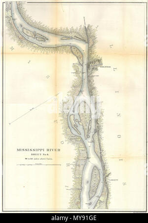 . MIssissippi River around Chester, Illinois.  English: This is a beautiful hand colored 1865 United States Costal Survey chart or map of a part of the Mississippi River around, Chester Illinois. Sheet six of a six sheet set depicting the Mississippi River from Cairo Illinois to St. Mary's Missouri. The bends in the river are named, as are the many river islands shown. Notes towns, wood lots, landings and farms, many of which are shown with family names. Produced under the supervision of A. D. Bache in 1865. Professionally rebacked and beautifully hand colored. . 1865 8 1865 U.S.C.S. Map of th - Stock Photo