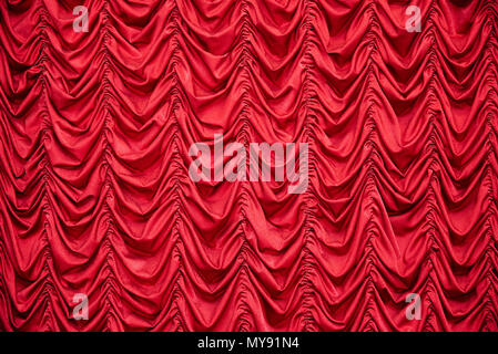 Red draped curtains - Stock Photo