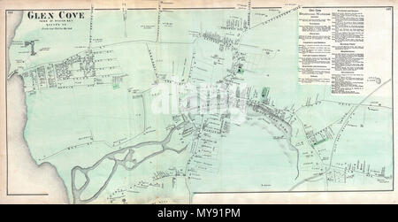 Glen Cove, Town of Oyster Bay, Queens Co. English: A scarce ... on olean map, cohoes map, huntington map, old saybrook map, farmingdale map, salisbury map, westbury map, glens falls map, floral park map, great river map, kensington map, crystal cove hiking map, brookhaven map, cove utah map, hammondsport map, town of hempstead map, chicopee map, fairhaven map, city island map, oil city map,
