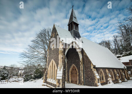 Snow at a cemetery in Brighton, East Sussex, England. - Stock Photo