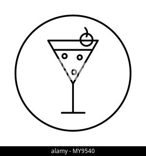 Cocktail icon in circle line, conic symbol inside a circle, on white background. Vector Iconic Design. - Stock Photo