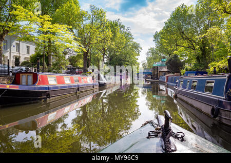 Narrowboat travelling through Little Venice on the Regent's Canal, London, UK - Stock Photo