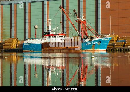 Rusty ship in Shoreham Port, West Sussex, England. - Stock Photo