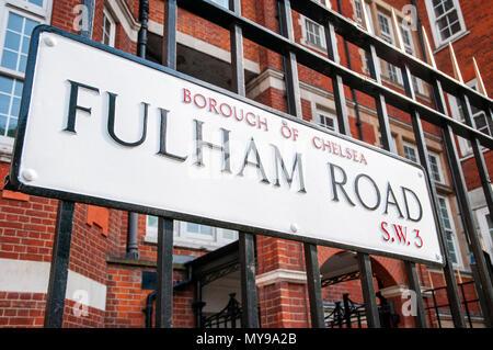 Fulham Road, London, UK - Stock Photo
