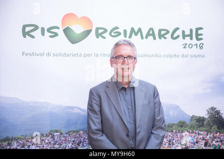 Rome, Italy. 06th June, 2018. Luca Ceriscioli, President of the Marche Region attended Neri Marcorè's presentation of the 2018 edition of RisorgiMarche Festival. Credit: Matteo Nardone/Pacific Press/Alamy Live News - Stock Photo