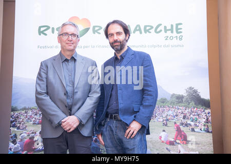 Rome, Italy. 06th June, 2018. The Italian actor and organizer Neri Marcorè presents the 2018 edition of the RisorgiMarche Festival to the press, in which great Italian singers will perform in the evocative natural frames of the Marche Region and, in particular, in those territories most affected by the earthquake of 2016 Credit: Matteo Nardone/Pacific Press/Alamy Live News - Stock Photo