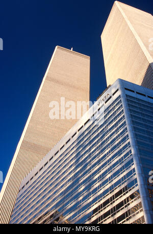 the Vista Hotel and Twin Towers of the World Trade Center, 1995, NYC, USA - Stock Photo