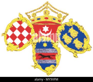 . English: Standard of the Croatian Ban (Vice-Roy) Hrvatski: Oznaka hrvatskog bana . Flag of the Ban (Vice-Roy) Josip Jelačić 1848.. Triune Kingdom of Dalmatia, Croatia and Slavonia 1848 62 Ban standard - Stock Photo