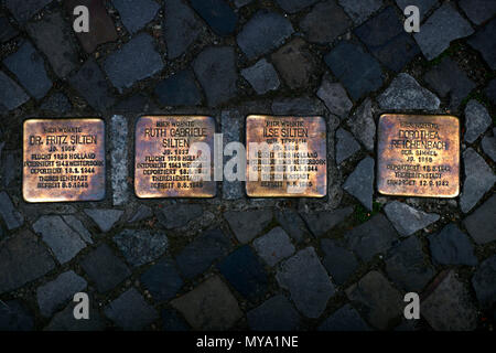 Stumbling Stones, Holocaust Memorial Plaques to Jewish Victims of National Socialism, Berlin, Germany - Stock Photo