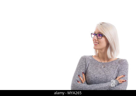Close up portrait of thoughtful student girl with crossed arms, wearing glasses. Successful blonde woman thinking having new idea. - Stock Photo