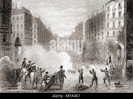 French troops on the streets of Paris, France during Prince Louis-Napoléon Bonaparte's coup d'état of 1851.  From Historia de los Crimenes del Despotismo, published 1870. - Stock Photo