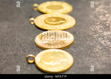 1/4 Turkish Gold coin necklace. - Stock Photo