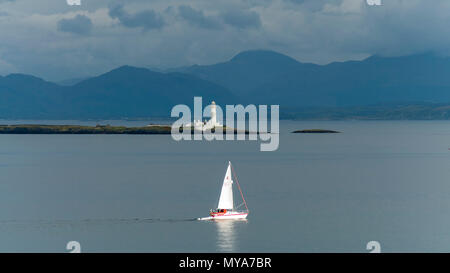 View across the Sound of Sleat towards Kerrera Island and Oban, showing the Lismore Islands and the lights of Lady Rock and Eilean Musdile taken from  - Stock Photo