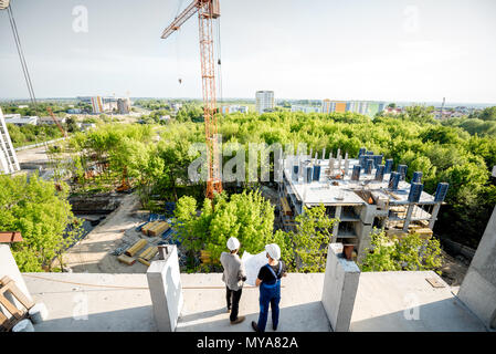 Construction site with workers - Stock Photo