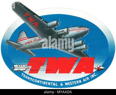 Vintage luggage label for TWA. - Stock Photo