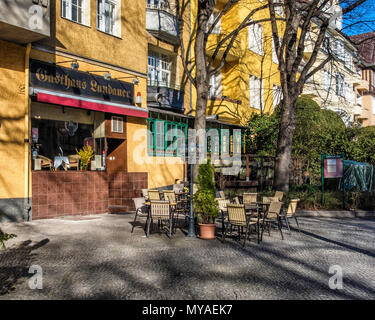 Berlin Rüdesheimer,Gasthaus Landauer.Restuarant serving traditinal German Food in Grand historic old house on the square where buildings have protecte - Stock Photo