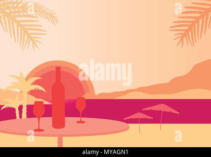 Tropical beach with parasols, sea with sunset, table with bottle of wine and two glasses - vector - Stock Photo
