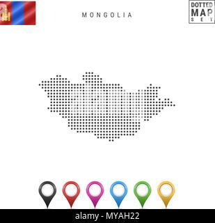 Vector Dotted Map of Mongolia. Simple Silhouette of Mongolia. National Flag of Mongolia. Set of Multicolored Map Markers - Stock Photo