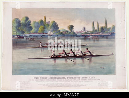 The great international university boat race On the river Thames (England) from Putney to Mortlake 4 miles 2 furlongs August 27th 1869 : Between the picked crews of the Harvard (American) and Oxford (English) universities. - Stock Photo