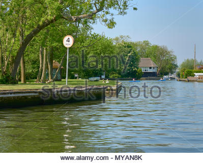 A 4 mph speed limit on the river bure on the norfolk broads national park england uk - Stock Photo