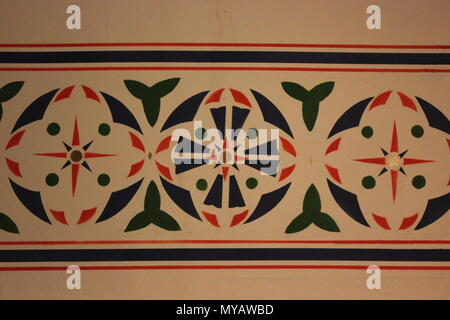 Stenciled and painted wall design At Ebenezer Lutheran church in Chicago, Illinois. - Stock Photo