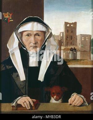 . Nederlands: Beetke van Rasquert met op de achtergrond de verwoeste borg Ewsum. Ervoor staan twee premonstratenzer monniken. Linksboven het familiewapen met een rode en zwarte adelaar, drie rozen en een kruis dat bestaat uit een fabeldier en een zwaard. Het schilderij van Beetke is mogelijk gemaakt na de dood van haar man Wigbold van Ewsum in 1528 en toont een getormenteerde vrouw voor de ruïne van Ewsum. Het hondje op de voorgrond en de ring om de vinger van Beetske vormen een allegorie op haar huwelijkstrouw aan haar man. between circa 1520 and circa 1530. onbekend: Het is in het verleden t - Stock Photo