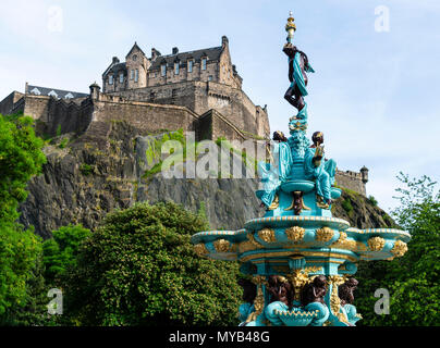 View of ornate newly restored Ross Fountain in Princes Street gardens , Edinburgh, Scotland, UK - Stock Photo