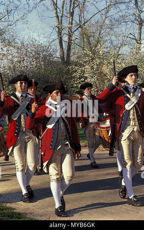 The Colonial Williamsburg Senior Fife and Drum Corp marching in columns of twos, with fifes and drum, multiracial,  Colonial Williamsburg, VA, USA - Stock Photo