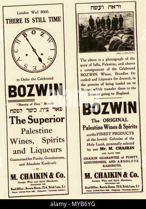 . English: Bozwin newspaper advert, Jewish Chronicle, 1930s . 3 November 2011. Scanned from the Jewish Chronicle, 1930s 84 Bozwin newspaper advert, 1930s - Stock Photo