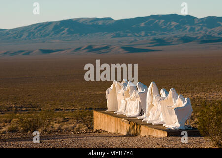 Last Supper sculpture art work in the Goldwell Open Air Museum in the ghost town of Rhyolite, Nevada, North America - Stock Photo