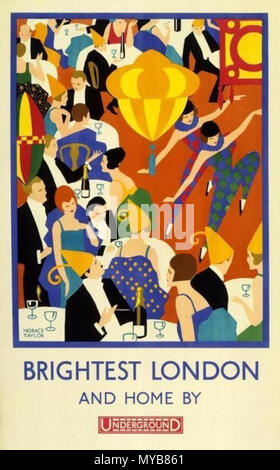 . The London Underground Electric Railway Company Ltd published this poster in 1924 . 1924. Horace Taylor 87 Brightest London and Home By Underground - Stock Photo