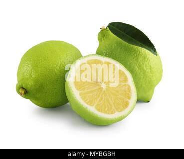 Fresh bergamot orange with cut and green leaves isolated on white background with clipping path - Stock Photo