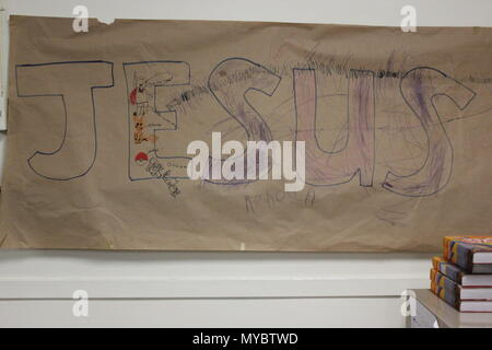 Jesus banner made by kids At Ebenezer Lutheran church in Chicago, Illinois. - Stock Photo