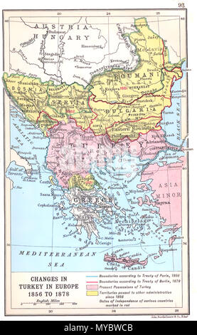 . 'Changes in Turkey-in-Europe 1856 to 1878', map showing the territorial changes in the Balkans between the Crimean War and Serbian–Ottoman War (1876–78). Work by J. G. Bartholomew dating to 1912. 1912. J. G. Bartholomew 105 Changes in Turkey-in-Europe 1856 to 1878 - Stock Photo