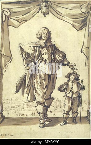 . Portrait of Claude Deruet, by Jacques Callot (Nancy 1592-1635), Louvre. . This file is lacking author information. 114 ClaudeDeruet - Stock Photo