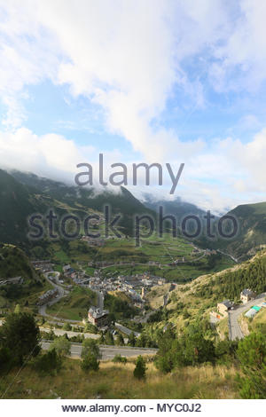 A scenic view of a valley near the Pyrenees. - Stock Photo