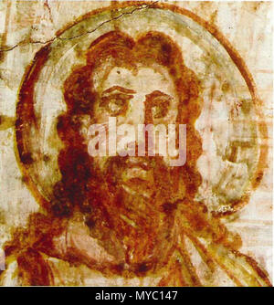 . English: Mural painting from the catacomb of Commodilla. Bust of Christ. This is one of first bearded images of Christ, during the 4th century Jesus was beginning to be depicted as older and bearded, in contrast to earlier Christian art, which usually showed a young and clean-shaven Jesus. Italiano: Cristo barbato (dettaglio), affresco 60x72, fine IV-inizio V secolo, Catacombe di Commodilla, Roma. 4th century AD. Anonymous 120 Comodilla Catacomb Iesus 4th century - Stock Photo