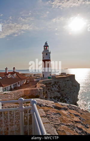May 27, 2016- Europa Point, Gibraltar - red and white lighthouse on point of cliff - Stock Photo