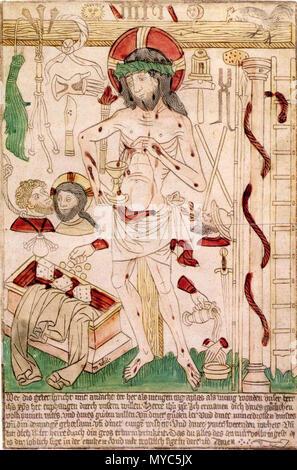 . Deutsch: Schmerzensmann mit Arma Christi, Germanisches Nationalmuseum Nürnberg . circa 1470/85. This file is lacking author information. 137 Der Schmerzensmann mit den Arma Christi Ulm - Stock Photo