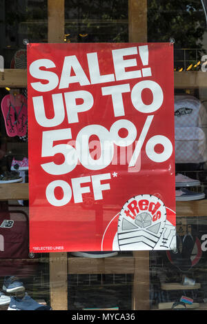 Price reduction shop poster - metaphor for struggling retailers and death of the high street, high street squeeze, retail squeeze. - Stock Photo